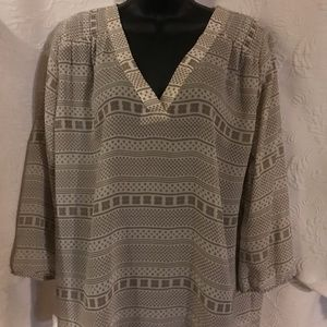 Ann Taylor 3/4 Long Sleeve Sheer Blouse size L
